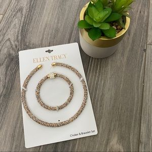 🌈 Ellen Tracy NWT sparkly choker and bracelet